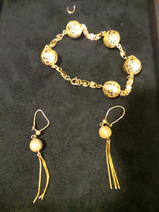 21kt gold nuggets bracelet & earing set