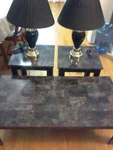 Coffee table,  end tables, and lamps