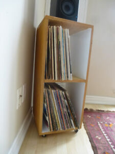 plywood record holder and narrow bookshelf