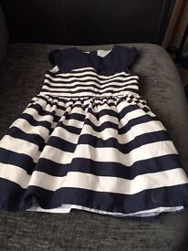 Girls blue and white dress 18-24months