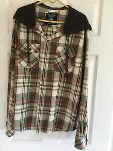 Bluenotes Plaid Hooded Long Sleeve Shirt, Size-M