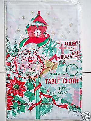 VINTAGE CHRISTMAS PLASTIC TABLE CLOTH  54