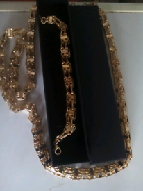 Gold filled luxury 3d cage set new 36inches and 8to9inches