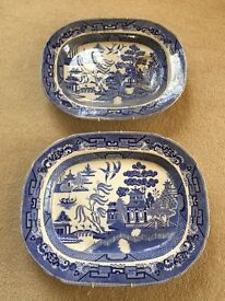 Pair of Japanese 'Willow' pattern plates. Antique Reproduction