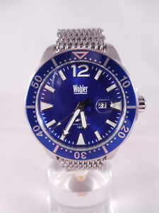 New Mens 46mm Wohler Blue Dial Divers Watch