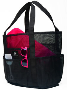 SALTWATER CANVAS MESH BEACH BAG
