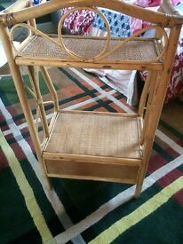 Bamboo and wicker shelf/ cupboard/ vintage