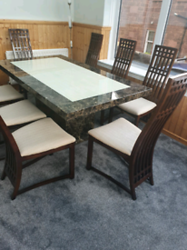 Brown & Cream Marble Table & Chairs