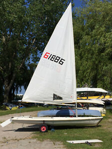 Laser Race Rigged Sailboat with dolly