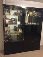 Black Lacquer & Glass Wall Unit