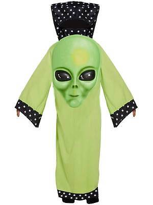 Kids Green Jumbo Face Alien Martian Costume Book Week Halloween Fancy Dress Boys - Giant Alien Costume