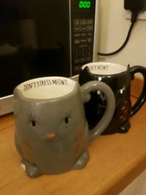 Set of cat mugs