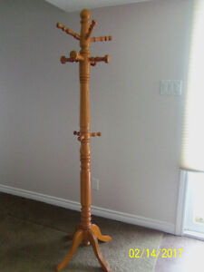 Buy the light colored solid wood Coat-Rack for $30 and the dark