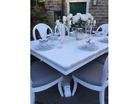 French Chic Dining Table & 6 Chairs ~ White & Grey ~ Shabby Chic Vintage ~ Rectangular