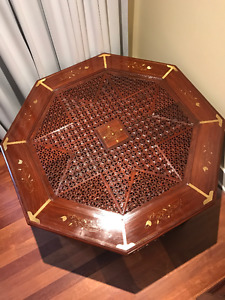 Beautiful Rosewood Octagonal Tables w carving & brass inlay