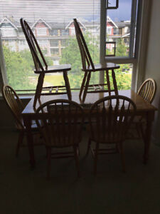 Wooden dining table set with six chairs - like new