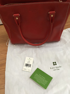 KATE SPADE BOARSKIN RED LEATHER TOTE 14K PLATED HARDWARE