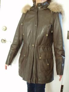 Manteau d'hiver 3/4 en cuir brun