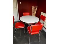 1950's Retro Diner Table & 4 Chairs (1 week old)