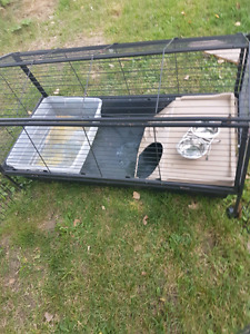 Large bunny cage/ supplies with attaching fence