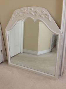 ANTIQUE VINTAGE WOOD Framed BEVELLED GLASS Mirror