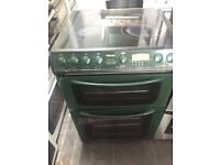 Green hotpoint 60cm ceramic hub electric cooker grill & double fan oven good condition with guarant