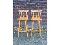 2 pine breakfast bar stools Bargain