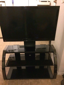 """REDUCED 46"""" TV and TV stand"""