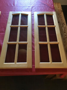 2 Glass Cabinet Doors - 12 in x 30 in