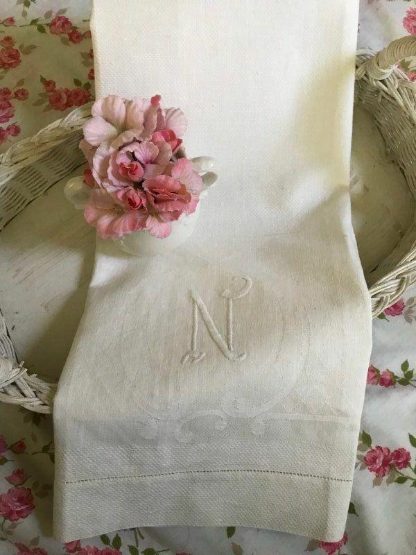 AnTiQuE Rose Lattice DAMASK Huck LINEN Monogram N Vintage BATH TOWEL
