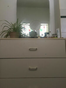 White dresser with attatched (removable) Vanity mirror