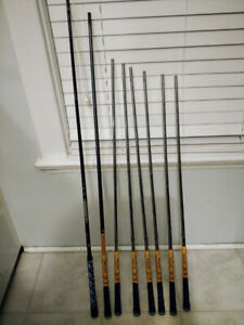Golf clubs and shafts