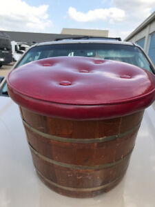 Antique Wooden Barrel Stool Storage Red Leather