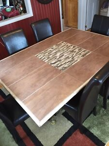 Dining table and 6 parson chairs