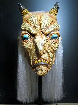 Goat Witch Full Head Latex Halloween Mask w/ Hair Demon Occult Ritual