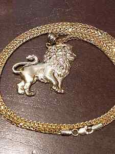 Lion pendant and franco chain 10k yellow gold