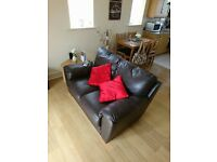 Two & three seater brown leather settees