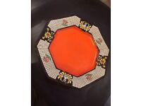 1920's Art Deco Beautiful bright orange hand painted plate
