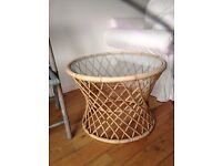 Wicker table with glass top and fold up chair