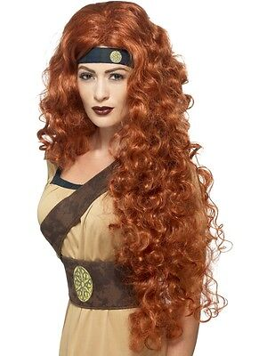 Womens Long Curly Medieval Warrior Queen Wig Ginger Fancy Dress Gothic Brave Fun