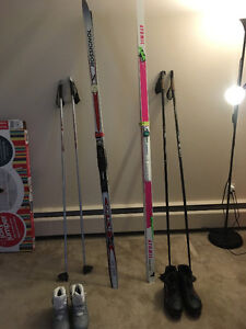 Two Complete sets of Cross Country Skis (Man and Woman)