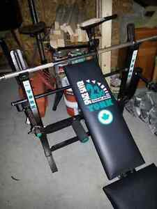 york weight bench and cast iron weights and bar