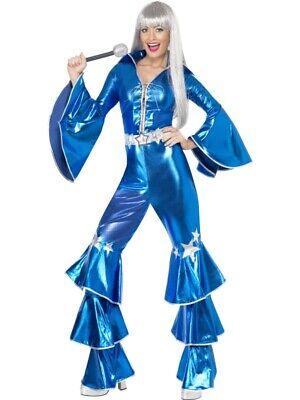 70er Jahre Kostüm Damen blau Flower Power Hippie Dancing Queen - Dancing Queen Kostüm Blau