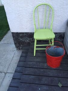 Wood Chair and metal bucket