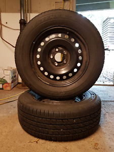 4 x 215/65/R16 M+S Tires Mounted on Rims in Near New Condition