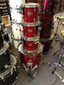 Batterie Pearl Masters Studio Shell Kit 10-12-14-22 Red Transparent Lacquer Finish usagée-used