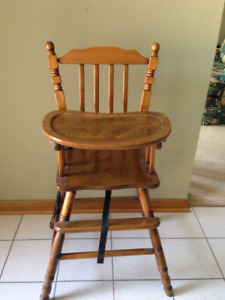 Wooden High Chair Refinished Like New