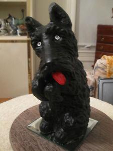 LITTLE BLACK VINTAGE CERAMIC SCOTTY-DOG COIN BANK