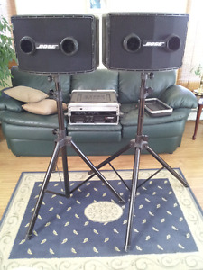 Bose 802 II speakers c/w controller and stands & Gator road case