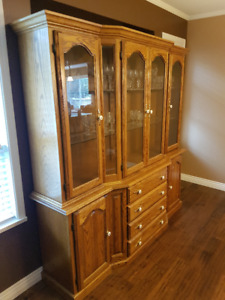 Solid oak china cabinet and dining suite